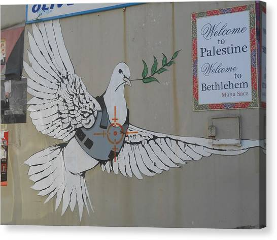 Hip Hop Canvas Print - Banksy Dove In Bethlehem by Arik Bennado