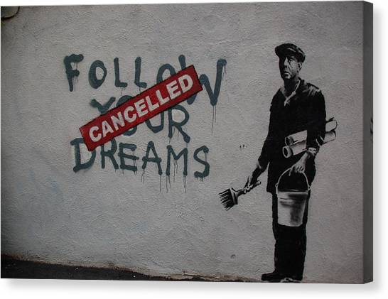 Hip Hop Canvas Print - Banksy Follow Your... by Arik Bennado