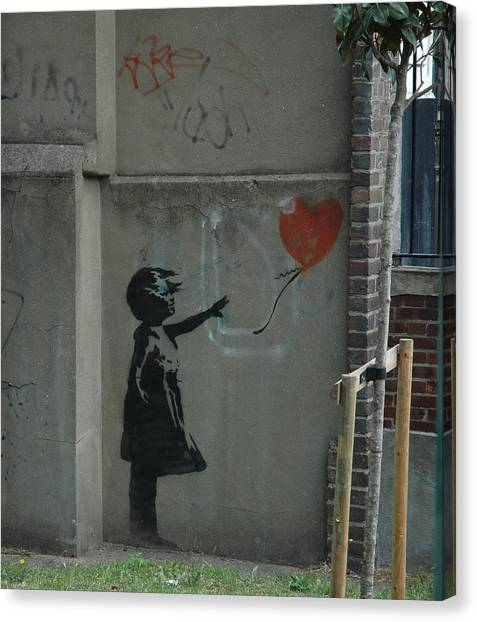 Hops Canvas Print - Banksy Girl With Baloon by Arik Bennado