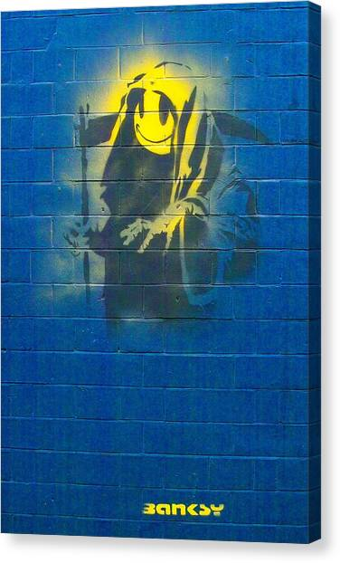Hip Hop Canvas Print - Banksy Grin Reaper by Arik Bennado