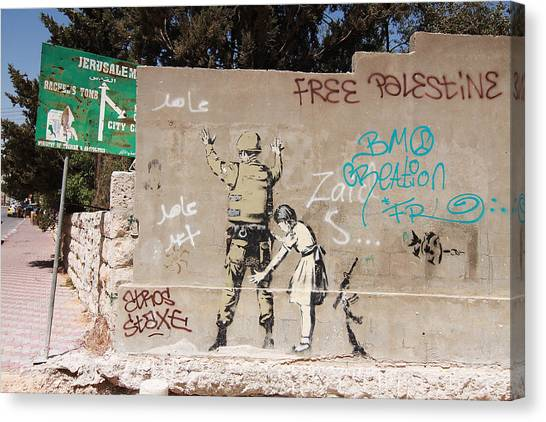 Hip Hop Canvas Print - Banksy In Bethlehem by Arik Bennado