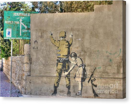 Banksy In Bethlehem 2 Canvas Print