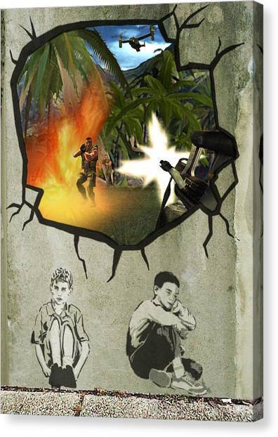 Palestinian Canvas Print - Banksy In West Bank by Arik Bennado