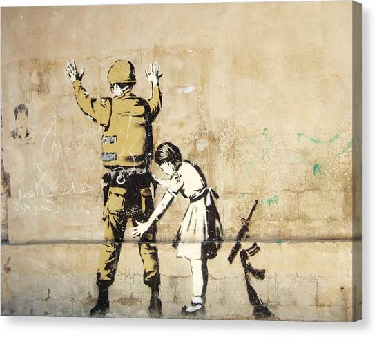 Palestinian Canvas Print - Banksy In West Bank Body Search by Arik Bennado
