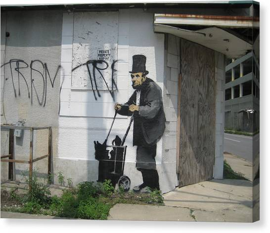 Hip Hop Canvas Print - Banksy Lincoln In New Orleans by Arik Bennado