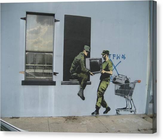 Hops Canvas Print - Banksy Looters In New Orleans by Arik Bennado