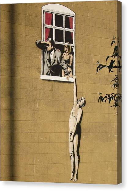 Hip Hop Canvas Print - Banksy Lovers On Sex Health Clinic In Bristol by Arik Bennado