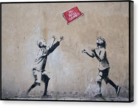 Hip Hop Canvas Print - Banksy No Ball Game by Arik Bennado