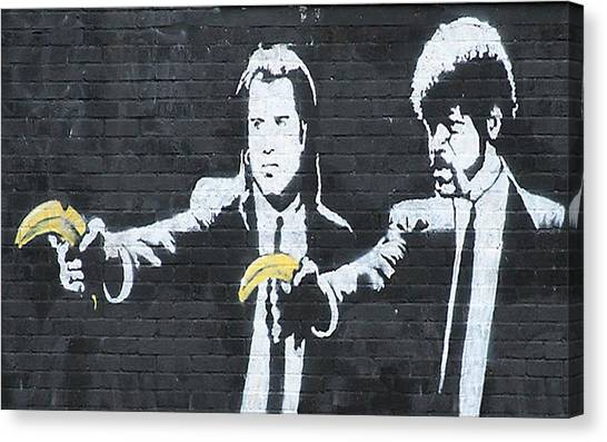 Hip Hop Canvas Print - Banksy Pulp Fiction by Arik Bennado