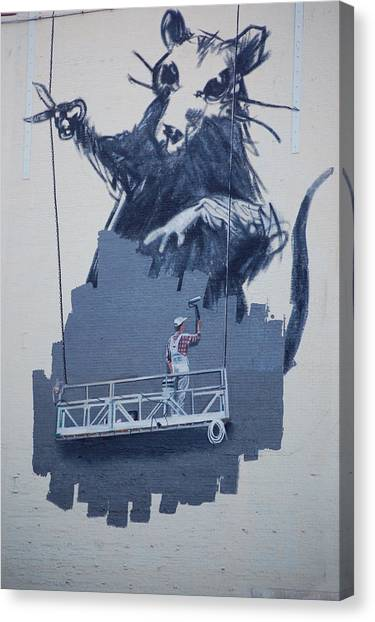 Hip Hop Canvas Print - Banksy Rat In New York by Arik Bennado