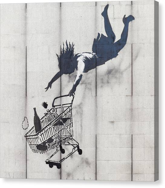 Hip Hop Canvas Print - Banksy Shop Till U Drop by Arik Bennado