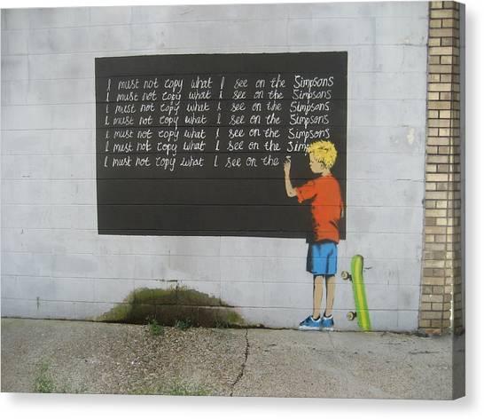Hip Hop Canvas Print - Banksy Simpsons by Arik Bennado