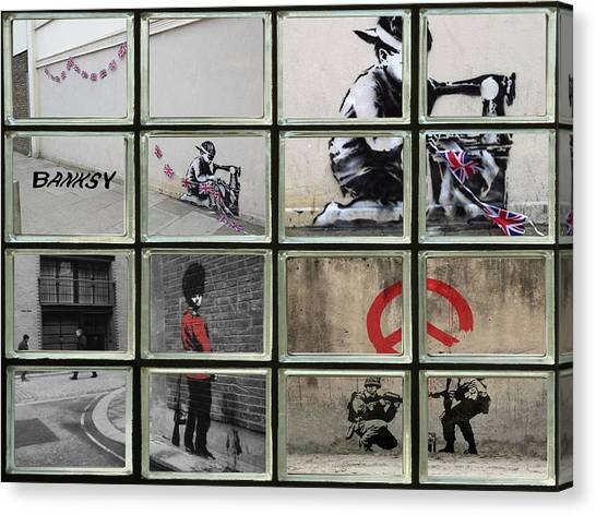 Graffiti Walls Canvas Print - Banksy Street Art by David French