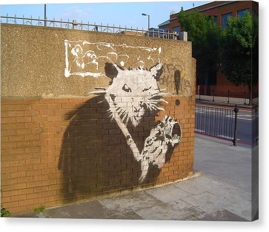 Hip Hop Canvas Print - Banksy The Rat London by Arik Bennado