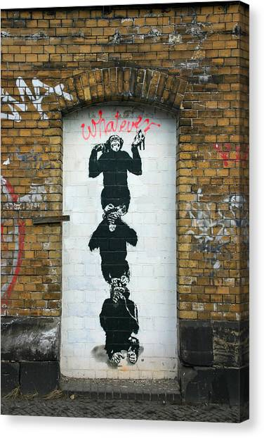 Hip Hop Canvas Print - Banksy Three Monkeys by Arik Bennado