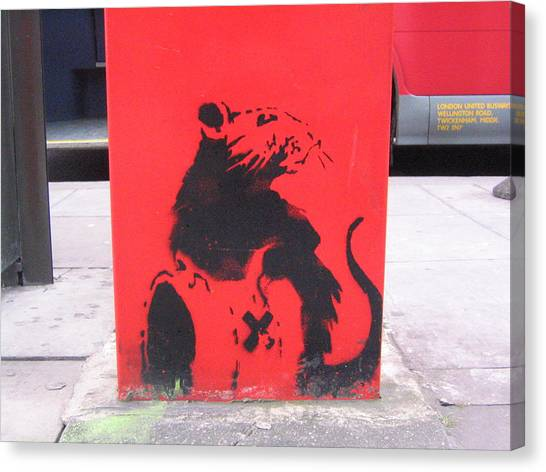 Hops Canvas Print - Banksy Toxic Rat In London by Arik Bennado
