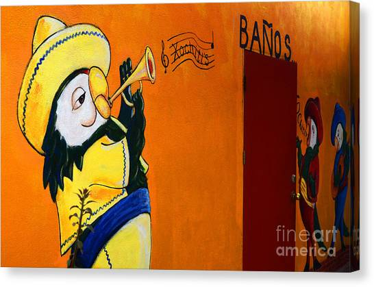 Graffiti Walls Canvas Print - Banos Peurto Penasco Mexico by Bob Christopher