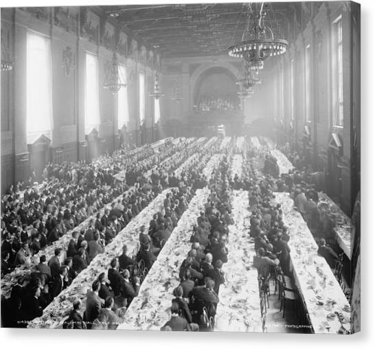 Yale University Canvas Print - Banquet In Alumni Hall [i.e., University Commons], Yale College, Connecticut, C.1900-06 Bw Photo by Detroit Publishing Co.