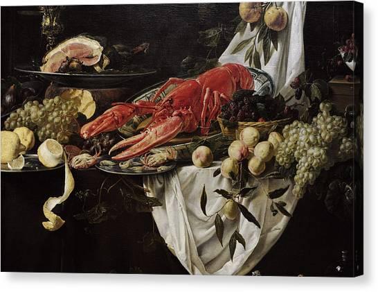 Rijksmuseum Canvas Print - Banquet Still Life, 1644, By Adriaen Van Utrecht 1599-165152 by Bridgeman Images