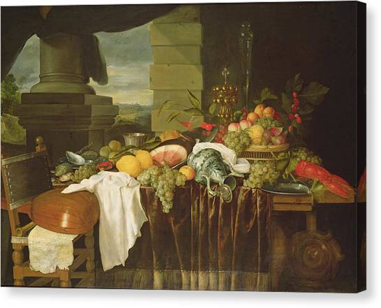 Ham Canvas Print - Banquet Still Life Oil On Canvas by Andries Benedetti