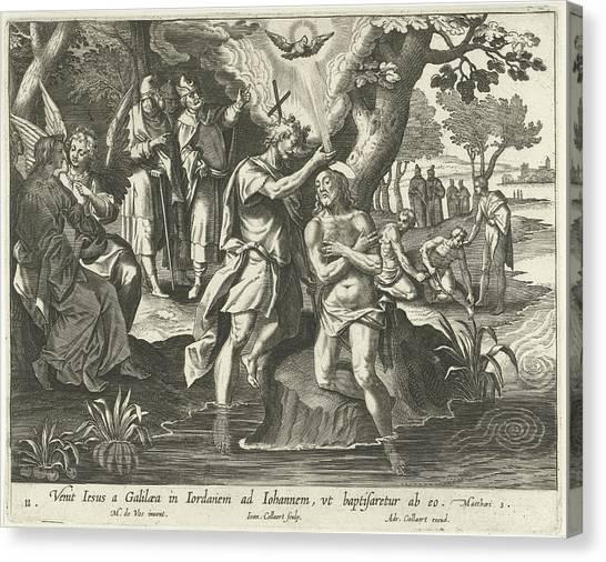 River Jordan Canvas Print - Baptism Of Christ, Jan Collaert II, Adriaen Collaert by Jan Collaert (ii) And Adriaen Collaert