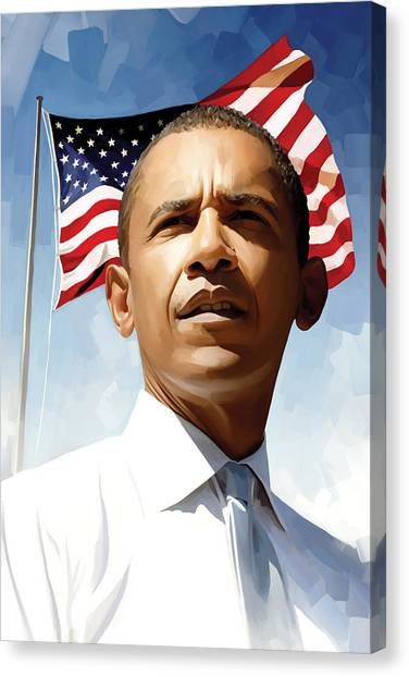 Democratic Presidents Canvas Print - Barack Obama Artwork 1 by Sheraz A