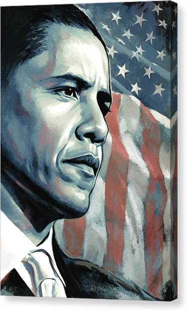 Democratic Presidents Canvas Print - Barack Obama Artwork 2 B by Sheraz A