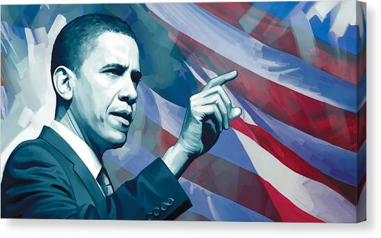 Democratic Presidents Canvas Print - Barack Obama Artwork 2 by Sheraz A