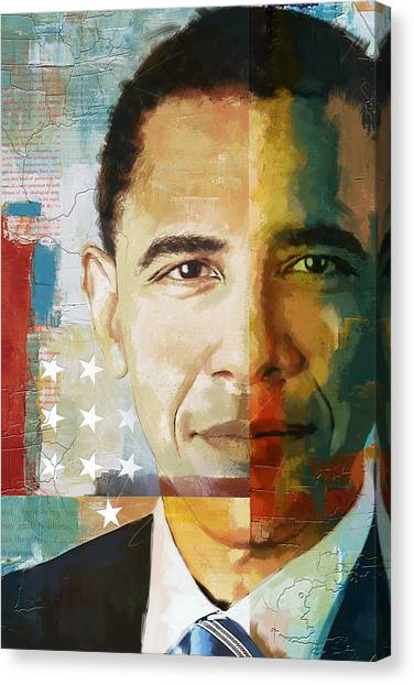 Columbia University Canvas Print - Barack Obama by Corporate Art Task Force