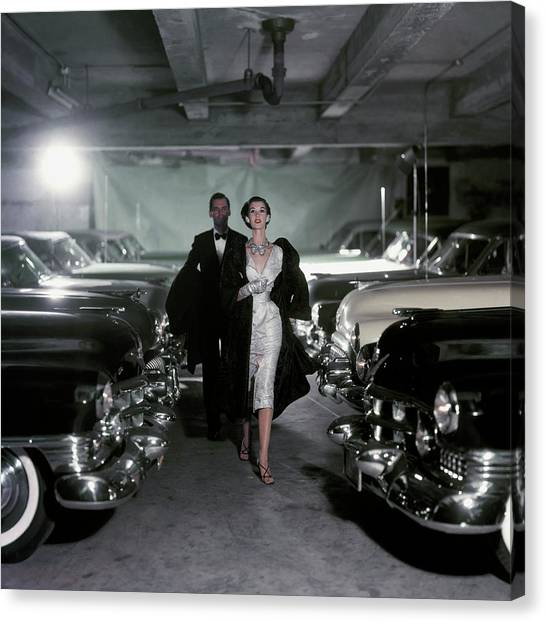 Fashion Canvas Print - Barbara Mullen With Cars by John Rawlings