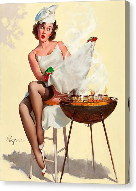 Barbecue Pin-up Girl Canvas Print