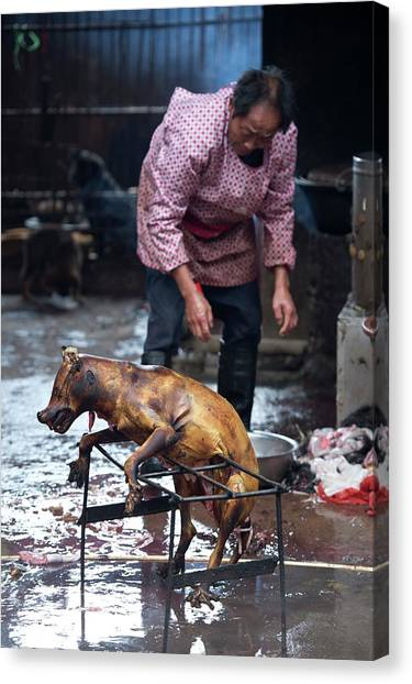 Carcass Canvas Print - Barbecued Dog Carcass In A Chinese Market by Tony Camacho