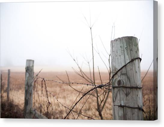 Barbed Wire Fence In The Fog Canvas Print