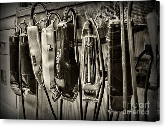Ward Canvas Print - Barbershop Clippers In Black And White by Paul Ward