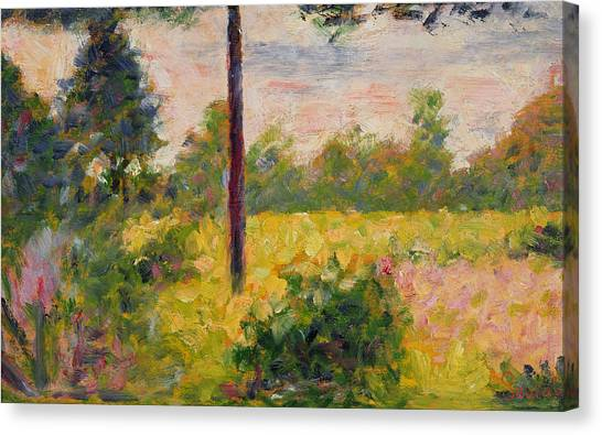 Post-impressionism Canvas Print - Barbizon Forest by Georges Pierre Seurat