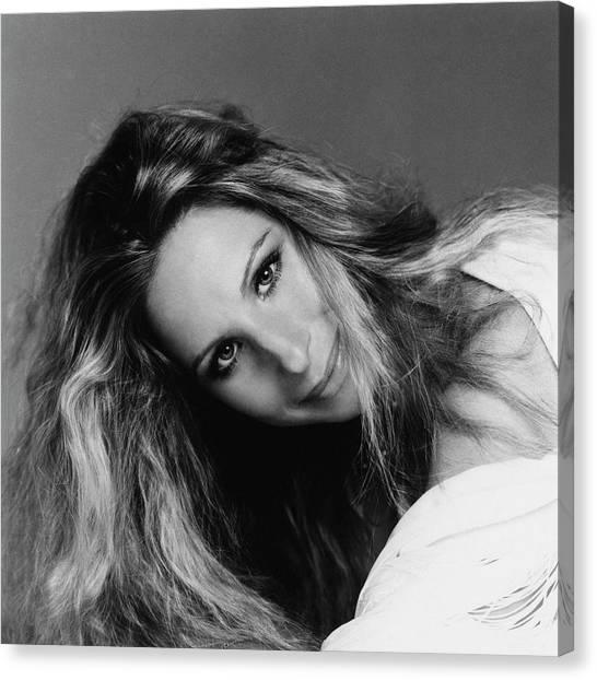 Head Tilt Canvas Print - Barbra Streisand Wearing Hair Cut And Colored by Francesco Scavullo