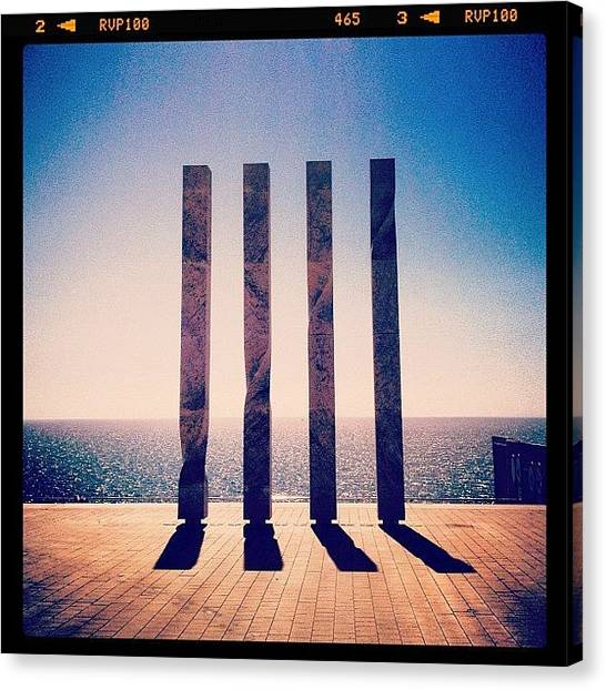 Installation Art Canvas Print - #barcelona #bcn #barca #harbour by Carina Ro