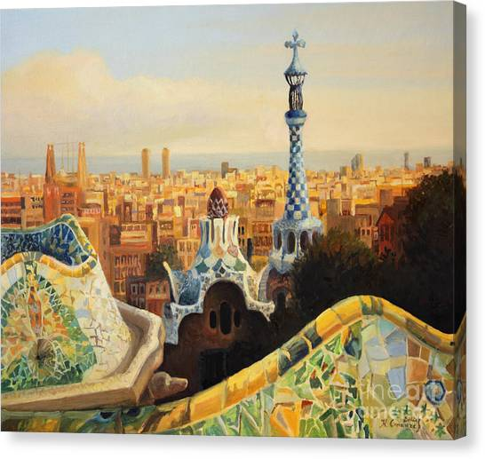 Skylines Canvas Print - Barcelona Park Guell by Kiril Stanchev