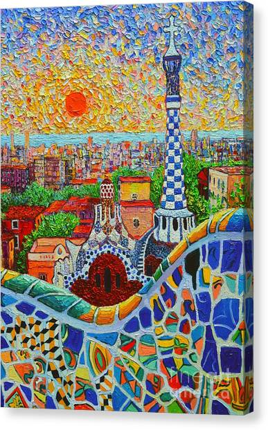 Barcelona Sunrise - Guell Park - Gaudi Tower Canvas Print