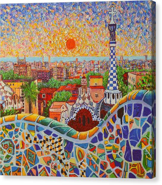 Barcelona Sunrise Light - View From Park Guell Of Gaudi - Square Format Canvas Print