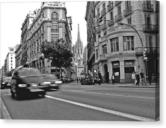 Barcelona Traffic Canvas Print by Jon Cotroneo