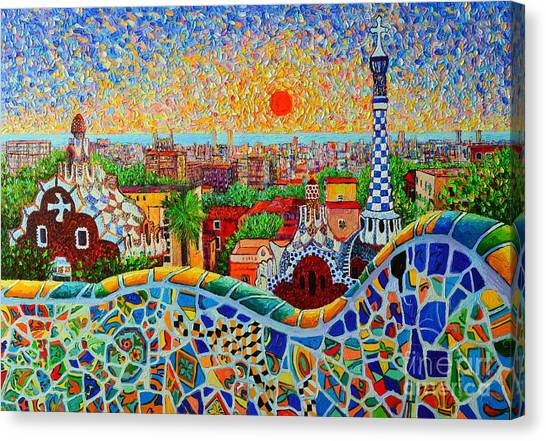 Europe Canvas Print - Barcelona View At Sunrise - Park Guell  Of Gaudi by Ana Maria Edulescu