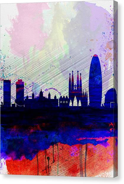 Barcelona Canvas Print - Barcelona Watercolor Skyline 2 by Naxart Studio