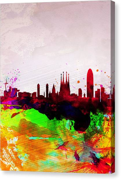 Barcelona Canvas Print - Barcelona Watercolor Skyline by Naxart Studio