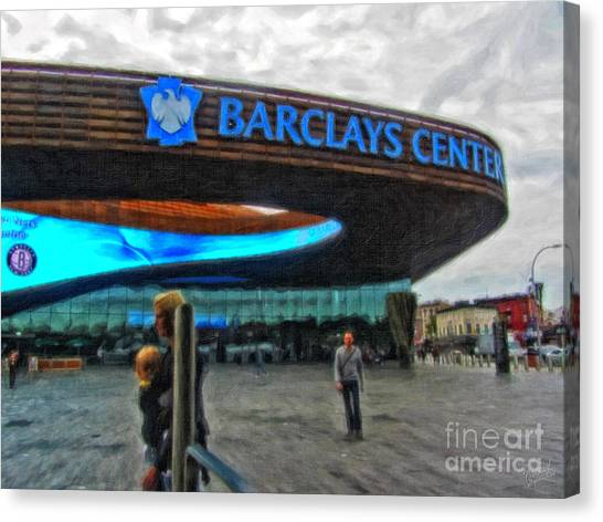 Brooklyn Nets Canvas Print - Barclays Center Brooklyn by Nishanth Gopinathan
