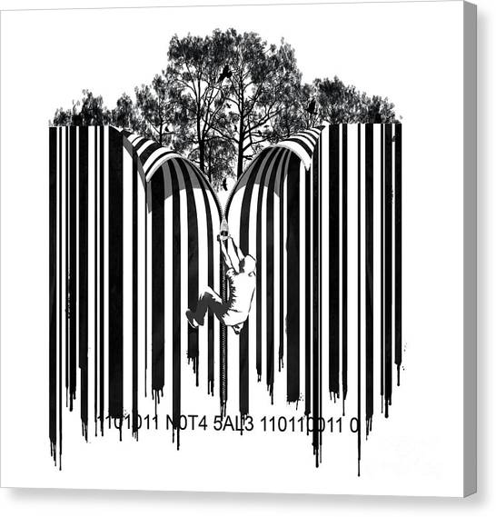 Graffiti Walls Canvas Print - Barcode Graffiti Poster Print Unzip The Code by Sassan Filsoof