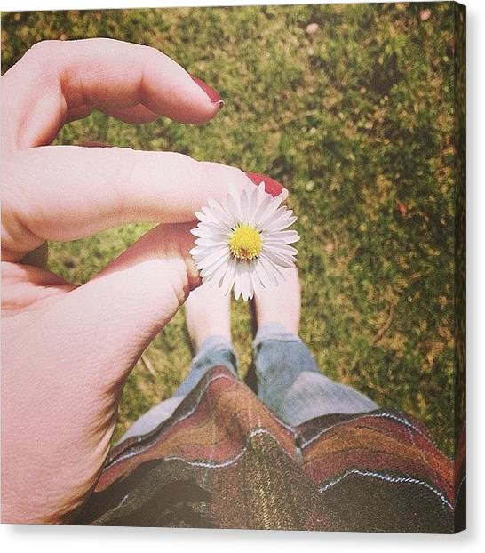 Flannel Canvas Print - Bare Feet And Flannel And A Flower! by Sam Symonds