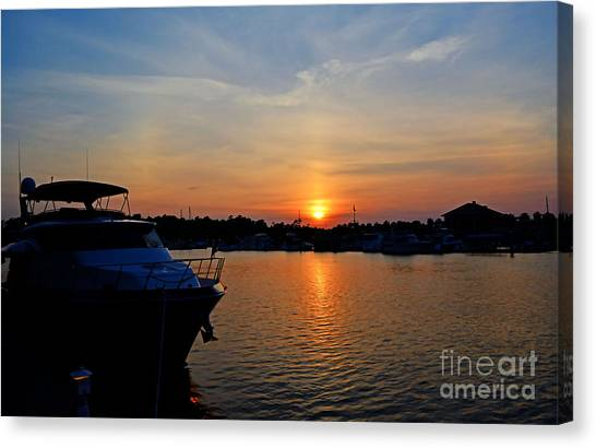 Barefoot Landing Sunset Canvas Print by Kathy Baccari