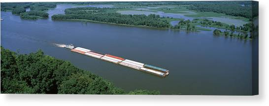 Marquette University Canvas Print - Barge In A River, Mississippi River by Panoramic Images