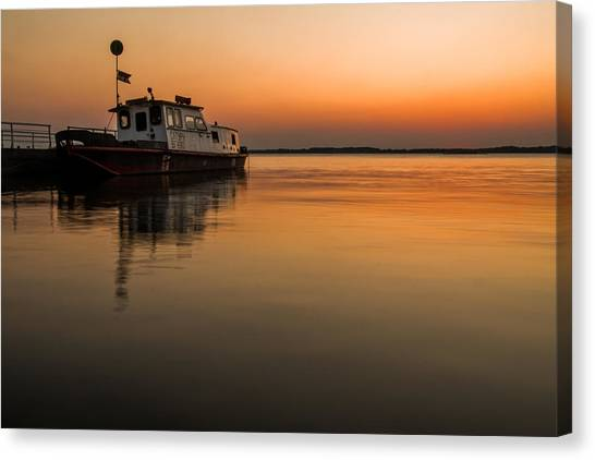 Danube Canvas Print - Barge On Danube by Davorin Mance
